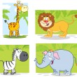 Jungle Animals With Background - Stock Photo