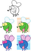 Fly Cartoon Characters.Collection — Stock Photo