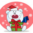 Giving Christmas Polar Bear Holding A Gift In The Snow — Stock Photo #2583326