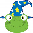 Frog Smiling Head With Wizard Hat — Stock Photo