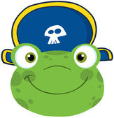 Frog Smiling Head With Pirate Hat — Stock Photo
