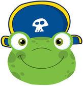 žába s úsměvem hlavu s kloboukem pirát — Stock fotografie