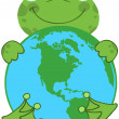 Frog Hugging Planet Earth — 图库照片