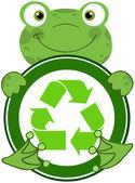 Kikker knuffelen banner met recycle symbool — Stockfoto