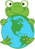 Frog Hugging Planet Earth — Stock Photo