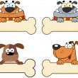 Cartoon Dogs Over A Bone Banner — Stock Photo #26806993