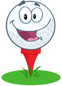 Golf Ball Cartoon Mascot Character Over Tee — Stock Photo