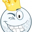 Golf Ball Cartoon Character With Gold Crown Winking — Stock Photo