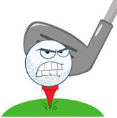 Angry Golf Ball Over Tee Going To Be Hit By Golf Club — Stock Photo