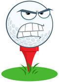 Angry Golf Ball Over Tee — Stock Photo