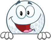 Smiling Golf Ball Over Sign — Stock Photo