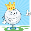Winking Golf Ball With Gold Crown Holding A Thumb Up — Stock Photo