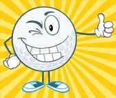 Bola de golfe, segurando um polegar a piscar o olho — Fotografia Stock