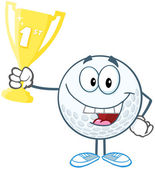 Golf Ball Holding Golden Trophy Cup — Stock Photo