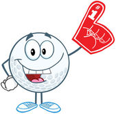 Smiling Golf Ball With Foam Finger — Stock Photo
