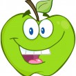 Smiling Green Apple — Stock Photo