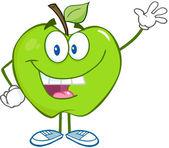 Zielone jabłko macha na powitanie — Zdjęcie stockowe