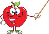 Apple Teacher Character With A Pointer — Stock Photo