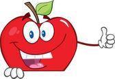 Boş oturum bir başparmak dayanabiliyor apple çizgi film karakteri — Stok fotoğraf