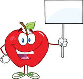 Apple Cartoon Character Holding Up A Blank Sign — Stock Photo