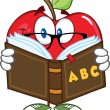 Apple Teacher Character Reading A Book — Stock Photo