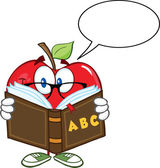 Apple Teacher Character Reading A Book With Speech Bubble — Stock Photo
