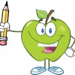 Stock Photo: Green Apple Character Holding Up Pencil