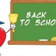 Apple Character Ringing A Bell For Back To School In Front Of Chalkboard With Text — Stock Photo #28200197