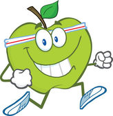 Healthy Green Apple Character Jogging — Stock Photo