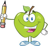Green Apple Character Holding Up A Pencil — Stock Photo
