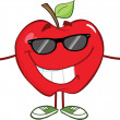 Red Apple Character With Sunglasses Giving A Thumb Up — Stock Photo