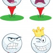 Golf Ball With Tee Different Expression. Vector Collection — Stock Photo