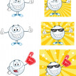 Golf Balls Cartoon Character With Background Different Poses. Vector Collection — Stock Photo #28272219