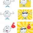 Stock Photo: Golf Balls Cartoon Character With Background Different Poses. Vector Collection