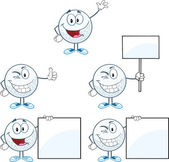 Golf Balls Cartoon Character Different Poses. Vector Collection — Stock Photo
