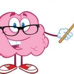 Brain Teacher Cartoon Character Holding A Pointer — Stock Photo #28397805