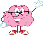 Beyin öğretmen karakter için tebrik sallayarak gülümseyen — Stok fotoğraf
