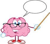 улыбаясь мозга учитель, удерживая указатель ведьма речи пузырь — Стоковое фото