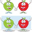Red And Green Apples Waving For Greeting. Collection — Stock Photo