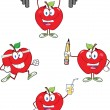 Stock Photo: Red Apples Cartoon Mascot Characters 3. Collection
