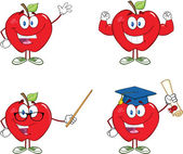 Red Apples Cartoon Mascot Characters 5. Collection — Stock Photo