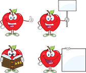 Red Apples Cartoon Mascot Characters 4.Collection — Stock Photo
