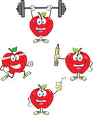 Red Apples Cartoon Mascot Characters 3. Collection — Stock Photo