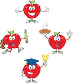 Red Apples Cartoon Mascot Characters 2. Collection — Stock Photo