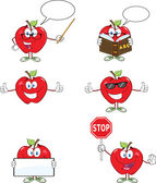 Red Apples Cartoon Characters 1. Collection — Stock Photo