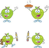 Green Apples Cartoon Mascot Characters.Collection — Stock Photo