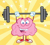 Happy Brain Lifting Weights — Stock Photo