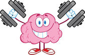 Smiling Brain Character Training With Dumbbells — Stock Photo