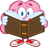 Brain Cartoon Character Reading A Book — Stock Photo