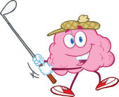 Brain Cartoon Character Swinging A Golf Club — Stock Photo